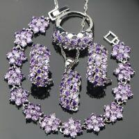 Violet Zircone Cristaux Set Collier Bracelet Boucles 925 Argent Noël Cadeau