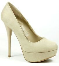 21c04a18cded Taupe Beige Faux Suede High Heel Round Toe Platform Pump Qupid Neutral-01