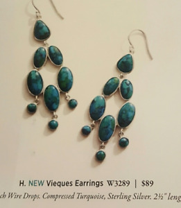"""SILPADA - W3289 - Compressed Turquoise, Sterling Silver """"Vieques"""" Earrings"""