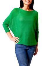 Pull Femmes Chandail D'Été Chauve-Souris Pull Tricoté Vert Xs S M