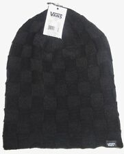 MENS VANS CHECKED SOLID BLACK BEANIE HAT CAP ONE SIZE