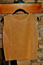 GOLD Lurex Sleeveless Evening Top / Shell / Shirt LARGE Excellent Condition!