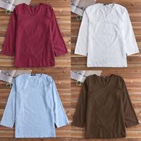 Men's V-neck Cotton Linen T Shirt Causal Kaftan Tunic Summer Beach Causal Tops