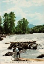 Indians Fishing at Moricetown Canyon BC Unused Vintage Postcard F20