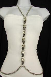 Women Silver Metal Skulls Body Chain Necklace Gothic Fashion Jewelry Punk Rocker