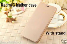 Premium Leather Flip Cover Case  Gold For Xiaomi Redmi 3S PRIME