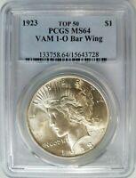 1923 Silver Peace Dollar PCGS MS 64 Vam 1O Bar Wing Top 50 Mint Error