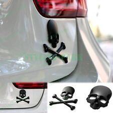 Black Alloy Car Skull Crossbones Demon Skeleton Metal Emblem Badge Decal Sticker