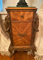 Antique French Art Nouveau Maple Veneer Night Stand End Lamp Table  - WE SHIP
