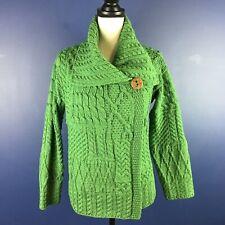 Carraig Donn Ireland Wool Women's Green One button Aran Cardigan Sweater Size S
