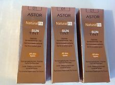 3 x Astor Natural Fit Sun Tint Shade 01. Full size 30ml Each. Boxed