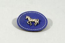 BARRETTE A CHEVEUX, ENFANT, en cuir, motif cheval, bleu, artisanat