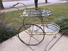 Vintage Mid Century Eames Hollywood Regency Rolling Bar Tea Cart Server Brass