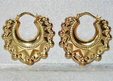 9ct Yellow Gold Victorian Style Large Gypsy Spiked Creole Hoop Earrings -