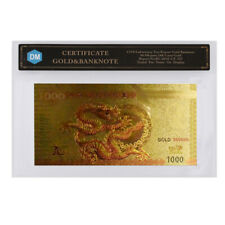 Chinese Dragon 1000 Colorful 24k Gold Banknote Collectible 1000 RMB Note In COA