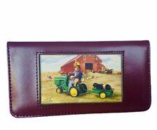 John Deere wallet Zolan art tractor bill fold check book case holder farm vtg US