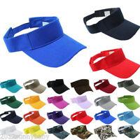 Plain Visor Sun Cap Sport Hat Adjustable Tennis Beach Men Women 7 Colors