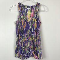 Cabi Women's size S Purple Multi Color Sleeveless Wrap Shirt Blouse