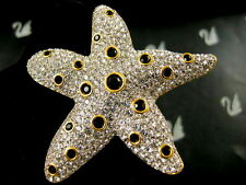 SIGNED SWAROVSKI PAVE' CRYSTAL STARFISH  PIN ~ BROOCH RETIRED NEW CONDITION