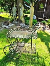 Antique/Vintage Wrought Iron Two Tier Garden or Patio Serving or Planter Cart