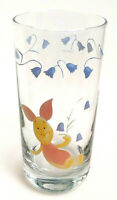 Disney Winnie The Pooh Glass Tumbler Piglet & Flowers Rounded Base Cup 16 oz
