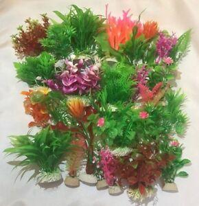 Artificial Plastic Aquarium plants - Mixed lots - Lot of 5, 10, 15 plants - New