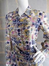 Robe Vintage Fait Main T.2 ou 3 Tissu voile très original Jupe à Plis