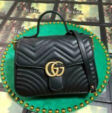 GUCCI Top Handle Handbag Black Small Leather GG Hibiscus Bag Marmont Matelasse