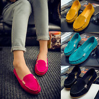 Women Moccasin Slip On Suede Flat Loafers Sneaker Casual Comfy Boat Shoes Size