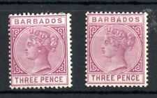 Barbados 3d SG95 (no gum) & SG96 (MH) 1885 WS13729