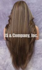 "38"" Long Human Hair Blend Full Lace Front Wig Heat OK Brown Carmel WEPC 8-27-613"