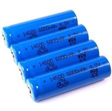4 Lithium Ionen Akku 3,7 V / 1300 mAh Typ 14500 Li ion Größe 50 x 14 mm wie AA