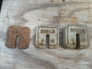 3 Antique Cast Iron Stacking Platform Balance Scale Weights 1lb 2lbs 5lbs Square