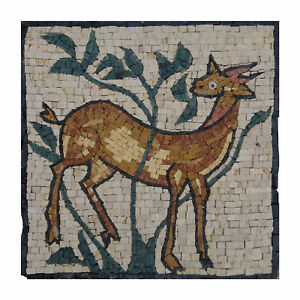 Gazelle Symbolic Mountain Tablet Marble, Stone Fine Mosaic Wall Art