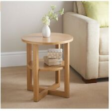 Milton's Contemporary Round Shaped Oak Finish Side Table With Undershelf