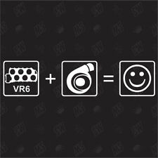 VR6 + Turbo = Smiley - Tuning Sticker, Autocollants Marrants, Autocollant, JDM