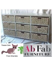 FULLY CONSTRUCTED - 9 DRAWER CANE WICKER TIMBER CHEST DRAWERS WHITE POSSUM CANE