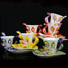 NEW PORCELAIN HANDMADE PEACOCK COFFEE TEA SET 1 CUP 1 SAUCER 1 SPOON RED 969