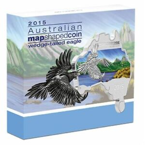 2015 1oz SILVER COIN. AUSTRALIAN MAP SHAPED COIN - WEDGE TAILED EAGLE