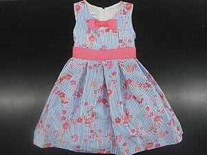 Girls Bonnie Jean Blue & White Striped Flamingo Dress Sizes 4 5 6 7 10 12 & 16