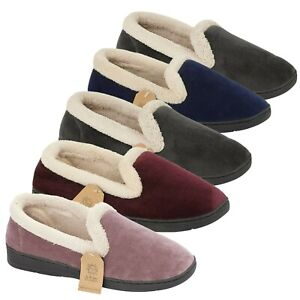 LADIES SLIPPERS WOMENS MOCCASINS SOFT WARM OUTDOOR VELOUR FAUX FUR SHOES SIZE