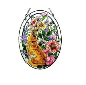 NEW Amia Oval Suncatcher with Cat in Summer Garden Design, Hand Painted Glass