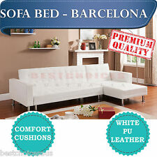 BRAND NE Modern Design White PU Leather Corner Sofa Bed L Shaped - Barcelona
