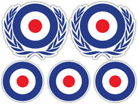 SCOOTER MOD ROUNDEL Laminated Sticker Set vespa the who Guitar Retro Decal