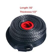 22000Lbs Black Synthetic Winch Line Rope Cable w/ Protective Sleeve 1/2'' X 92ft