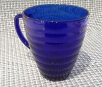 Cobalt Blue Glass Bee Hive Mug Vintage Mid Century Duralex Made in France EUC