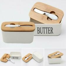 Ceramics Butter Box Holder Tray Storage Dish Beech Wooden Lids Butter Container