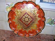 """Vintage Gilt Florentine Tole Tray Round 13"""" Gold Embossed Burnished Orange, Yllw"""