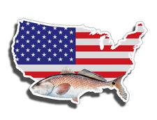 Red Fish Sticker USA American Flag Fishing Car Boat Window Bumper Decal Laptop