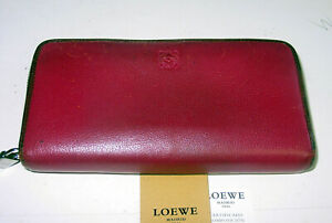 AUTH LOEWE MAGENTA LEATHER BURGUNDY TRIM LOGO LONG ZIP-AROUND WALLET - BEAUTIFUL
